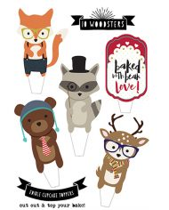 woodland-animal-cake-toppers-bear-fox-racoon