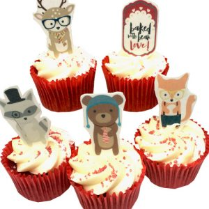 woodland cake toppers fox edible stand up bear woodsters