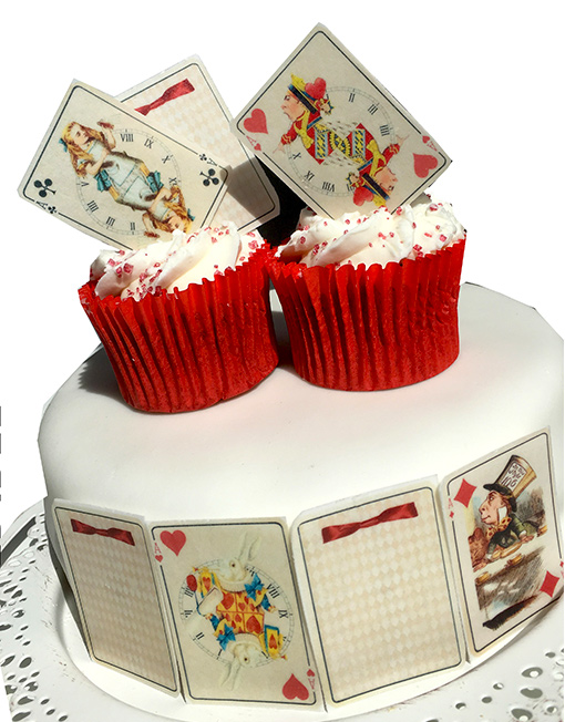 Alice in Wonderland edible playing card Cake Cupcake decoration