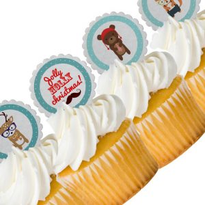 Woodland Christmas Cupcake Toppers