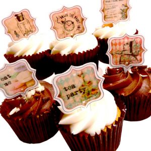 Alice in wonderland edible stand up cupcake toppers cake decorations