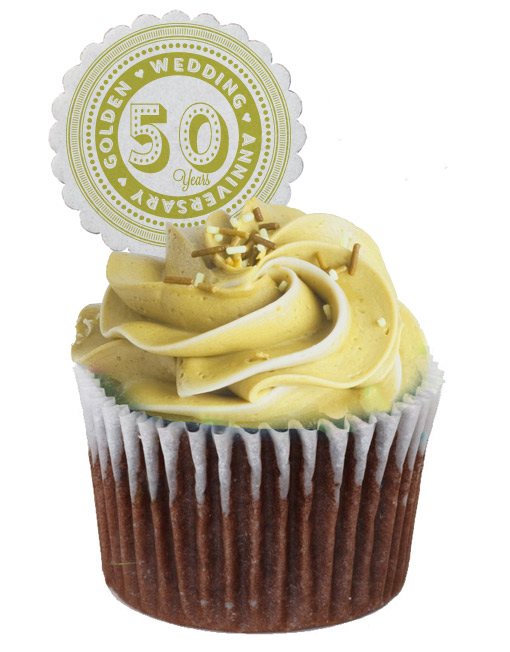 50th Golden Wedding Anniversary Cupcake Toppers