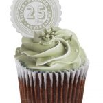 25th Silver Wedding Anniversary cupcake toppers